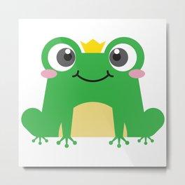 Cute cartoon frog is sitting with crown Metal Print