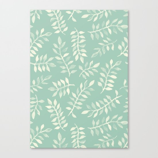 Painted Leaves - a pattern in cream on soft mint green Canvas Print