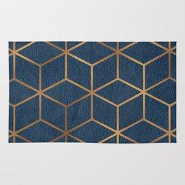 Dark Blue and Gold - Geometric Textured Cube Design Rug