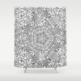 Detailed Mandala Frenzy Black and White Shower Curtain