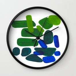 Mid Century Vintage Abstract Minimalist Colorful Pop Art Phthalo Blue Lime Green Pebble Shapes Wall Clock