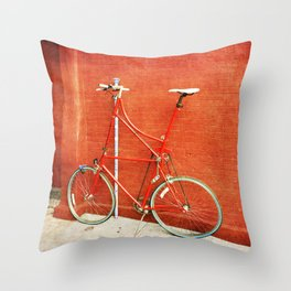 Red Tall Bike Against Brick Wall Throw Pillow