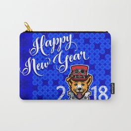 Happy New Year 2018 Yellow Dog Carry-All Pouch