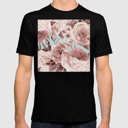 SEPIA ROSES ON GREEN T-shirt