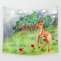 bambi Wall Tapestries featuring Bambi: A Life in the Woods by YukiRissa