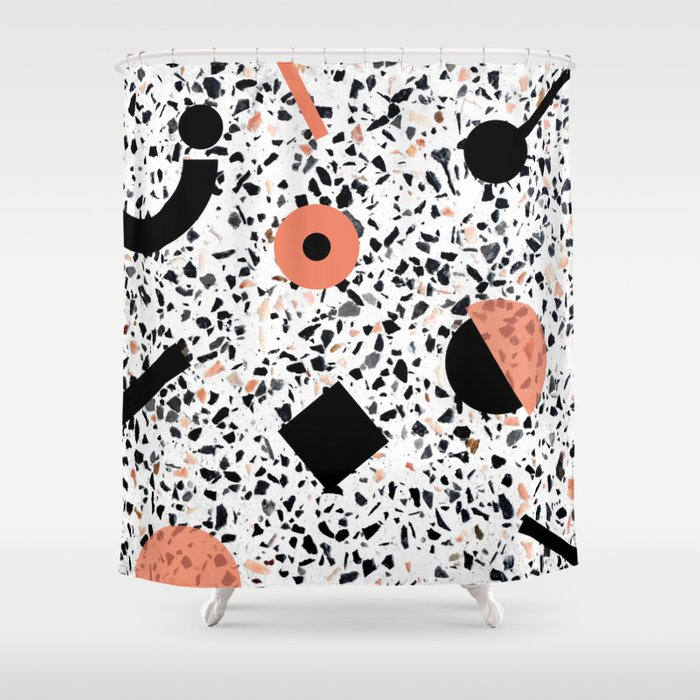 Terrazzo Stone Pattern Memphis Style Orange And Black Shower Curtain