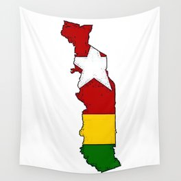 Togo Map with Togolese Flag Wall Tapestry