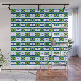 Mix of flag : Israel and brazil Wall Mural