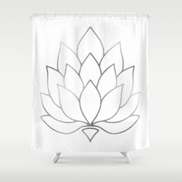 Silver Foil Lotus Flower Shower Curtain
