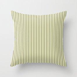 Mattress Ticking Narrow Striped Pattern in Dark Black and Cream Throw Pillow