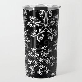 Symbols in Snowflakes on Black Travel Mug