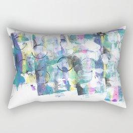 Green Blue Abstract with Black Circles Rectangular Pillow