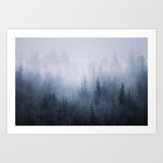 Misty fantasy forest. Art Print