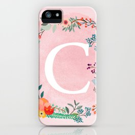 Flower Wreath with Personalized Monogram Initial Letter C on Pink Watercolor Paper Texture Artwork iPhone Case