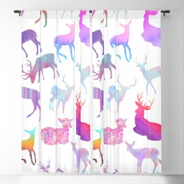 Modern abstract pink teal violet watercolor deers Blackout Curtain