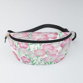 Elegant Pink White Green Glitter Carnations Floral Fanny Pack