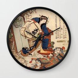 The Strong Oi Pouring Sake by Katsushika Hokusai Wall Clock