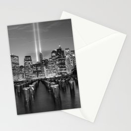 Lower Manhattan's 9-11 Tribute in Light black and white photograph by Marcela Stationery Cards
