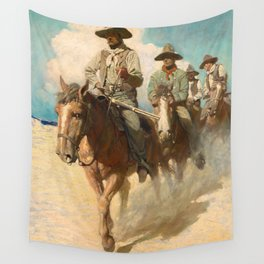 The Little Posse Started Out on its Journey, the Wiry Marshal First, 1907 by Newell Convers Wyeth Wall Tapestry