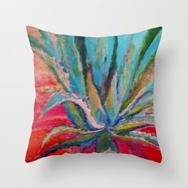 TROPICAL TURQUOISE BLUE AGAVE CACTI FUCHSIA  PATTERN Throw Pillow