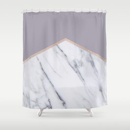 Smokey lilac - rose gold geometric marble Shower Curtain