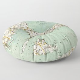 Cap Cod and Vicinity Map Floor Pillow