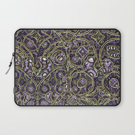 Violet Purple Faux Gold Victorian Swirls Art Pattern Laptop Sleeve