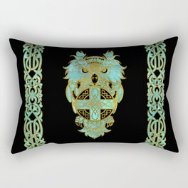 Gold and glass owl with celtic cross Rectangular Pillow