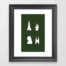 Delft silhouette on green Framed Art Print
