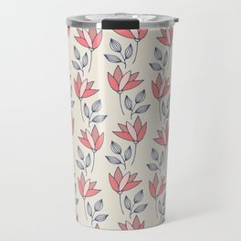 Tulips in pink and red on cream background Travel Mug