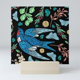 Blue Swifts and Butterflies In The Garden Mini Art Print
