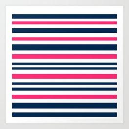 Horizontal , striped , pink , blue , white Art Print