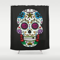 sugar skull Shower Curtains featuring Sugar skull by very giorgious