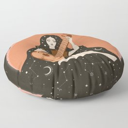Sitar Girl Ethnic, Indian Inspired, Cosmic   Floor Pillow