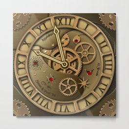 Steampunk clock gold Metal Print