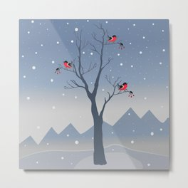 Birdies and First Snow Metal Print
