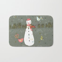 Cute Christmas Snowman & Birds Winter Scene Bath Mat