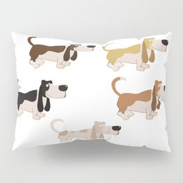 Basset Hound Colors Illustration Pillow Sham