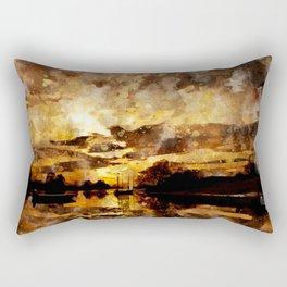 Golden sunset watercolor Rectangular Pillow