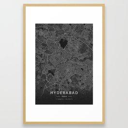 Hyderabad, India - Dark Map Framed Art Print