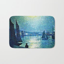 Classical Masterpiece 'Moonlight Night in Boulogne, Italy' by Theo van Rysselberghe Bath Mat