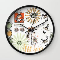 volleyball Wall Clocks featuring Free Spirit Volleyball by KiKi Spike Volleyball Stuff!
