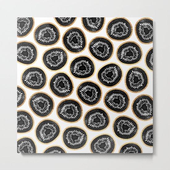 Black & Gold Kiwi Pattern Metal Print