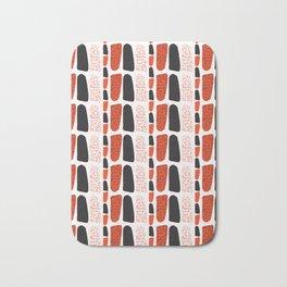 Terracotta and Black Abstract Drawn Symbols Style Bath Mat