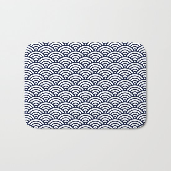 Indigo Navy Blue Wave Bath Mat