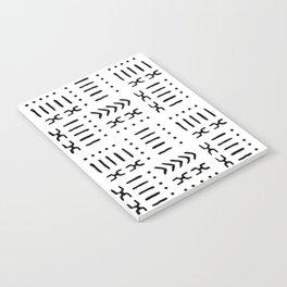 White Black Mud Cloth Pattern Notebook