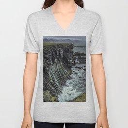 Waves hitting basalt cliffs of Iceland Unisex V-Neck