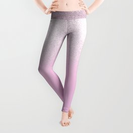 Girly blush pink lavender gradient glitter Leggings