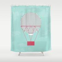 hot air balloon Shower Curtains featuring PINK HOT AIR BALLOON by Allyson Johnson