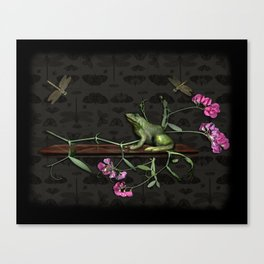 Frog and Dragonflies Canvas Print